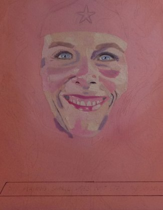 Unfinished Darlene Baker painting of woman's face.