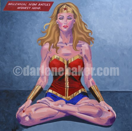 Enlightenment art depicting a woman dressed as a superhero, seated cross-legged, eyes closed.