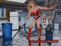 Woman dressed as a superhero experiencing midlife disillusionment as she wet vacuums a flooded basement.