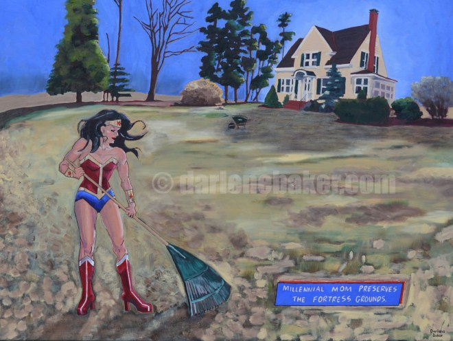 Married woman, dressed as a superhero, rakes a vast lawn before a beautiful family home, preservng the myth of the american dream.