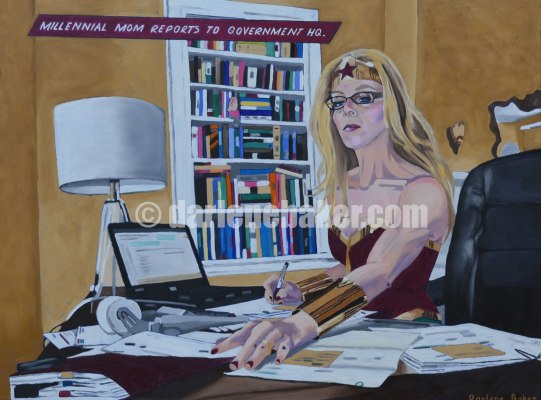 Married woman dressed as superhero prepares her taxes, participating in the american dream myth.