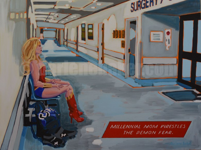 Woman dressed as superhero sits outside surgery in hospital, with football gear on floor beside her.