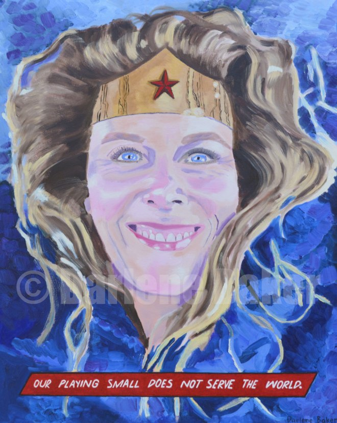 Oil painting of smiling face of Millennial Mom in enlightenment.