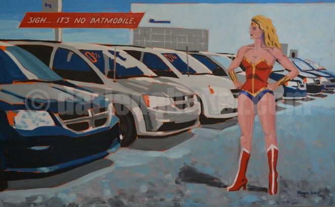 Woman dressed in superhero costume surveys line of minivans in car sales lot.