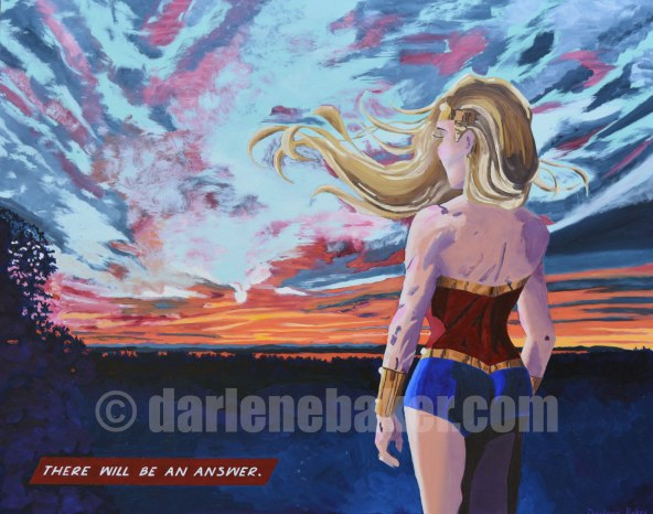 Enlightenment oil painting of Millennial Mom's back as she gazes at sunset view in New Brunswick.