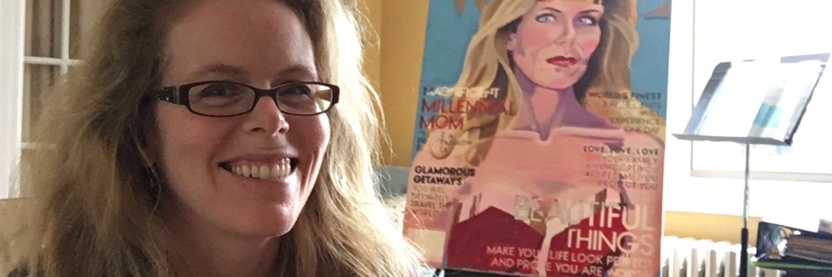 Artist Darlene Baker smiling in front of an unfinished painting of Millennial Mom on Vogue magazine cover.
