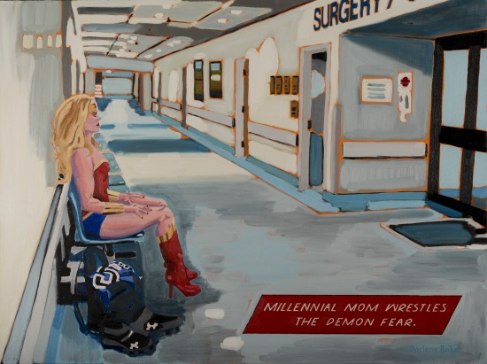 Millennial Mom stoicly sitting outside a surgery room, with cleats and a sports jersey on the floor beside her.
