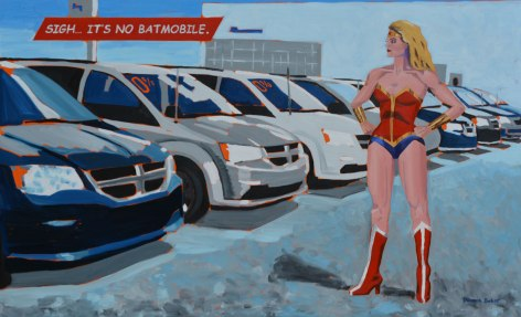 MM, hands on hips, contemplating a row of minivans for sale on a car lot.
