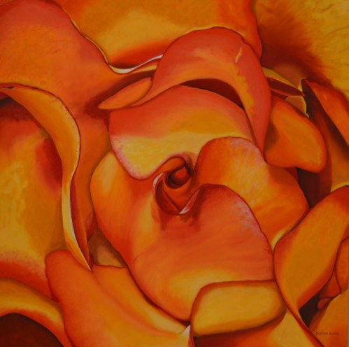 Darlene Baker oil painting of close-up rose