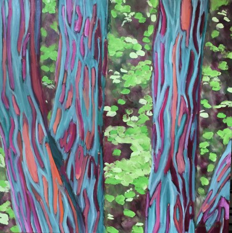 Colourful close-up painting of black locust tree trunks