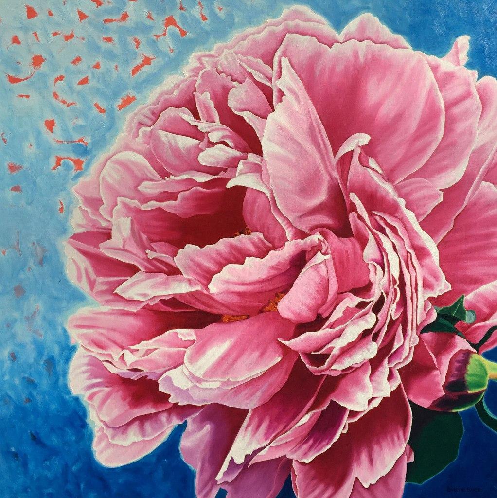 Darlene Baker painting of pink peony.