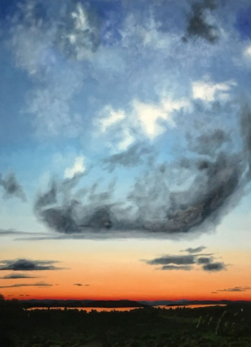 Darlene Baker oil painting of clouds in a sunset sky
