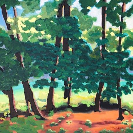 Summer sunlight shining through trees.