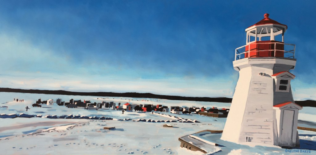 Lighthouse in the foreground of ice-fishing shacks.