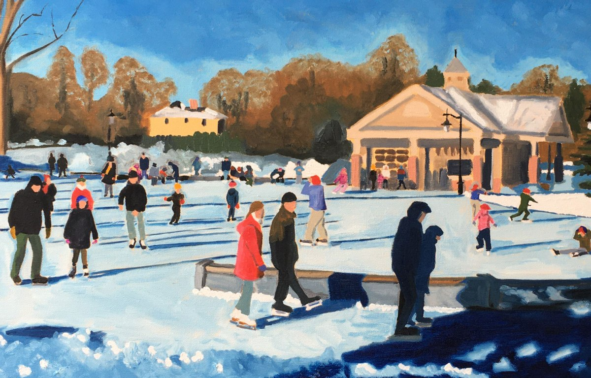 People ice skating on the Rothesay Common.