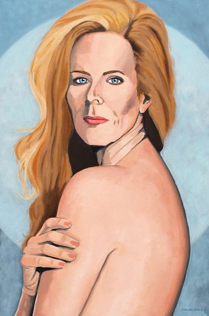Nude woman looking over her shoulder.